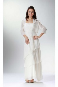 Elegant Strap Ivory Chiffon Tiered Mother Evening Dress Bolero Jacket