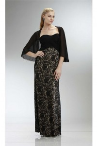 Elegant Strapless Empire Waist Black Lace Mother Of The Bride Dress With Jacket