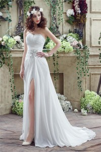 Elegant Strapless Sweetheart High Slit Chiffon Destination Beach Wedding Dress