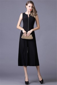 Elegant Tea Length Black Jersey Formal Occasion Evening Jumpsuit With Jackets