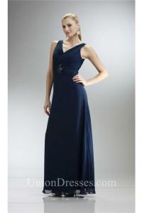 Elegant V Neck Long Navy Blue Chiffon Mother Evening Dress