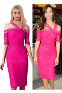 Emmy Rossum Inspired Column Cold Shoulder Pencil Skirt Hot Pink Tulle Ruched Evening Dress