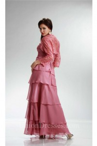 Fabulous Sweetheart Rose Chiffon Ruffle Tiered Mother Evening Dress Lace Jacket