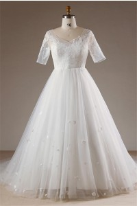 Fairy Ball Gown Corset Back Tulle Petal Plus Size Wedding Dress With Sleeves