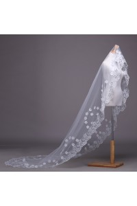Fairy One Tier Tulle Lace Beaded Flower Wedding Bridal Cathedral Veil