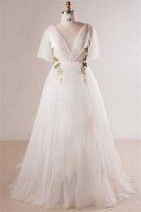 Fairy Scoop Neck Butterfly Sleeve Tulle Applique Bohemian Plus Size Wedding Dress