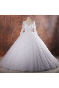 Fairy Tale Ball Gown Illusion Neckline Long Sleeve Puffy Tulle Ssparkly Wedding Dress