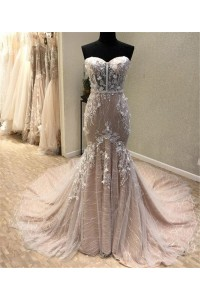 Fantastic Mermaid Sweetheart Champagne Lace See Through Wedding Dress