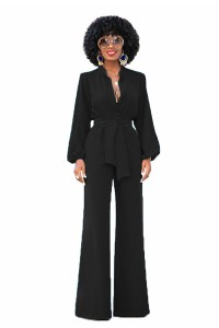 Fashion Collared Long Sleeve Wide Leg Black Women Jumpsuit With Sash