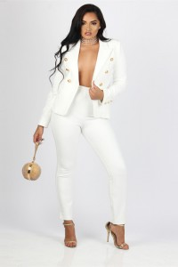 Fashion Gold Button White Pant Suits For Women