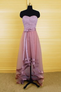 Fashion High Low Strapless Dusty Rose Lace Prom Dress With Detachable Skirt