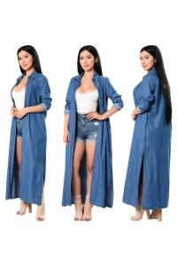 Fashion Long Sleeve Denim Women Windbreaker Coat