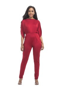 Fashion Spring Fall Red Jersey Casual Women Jumpsuit With Sleeves