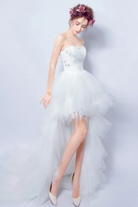 Fashion Strapless High Low Tulle Layered Outdoor Beach Wedding Dress