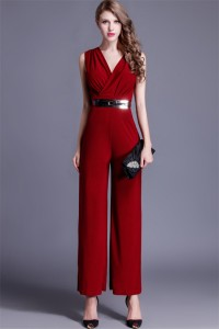 Fashion V Neck Sleeveless Burgundy Jersey Formal Occasion Evening Jumpsuit