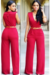 Fashion V Neck Sleeveless Long Casual Rompers And Jumpsuit With Belt