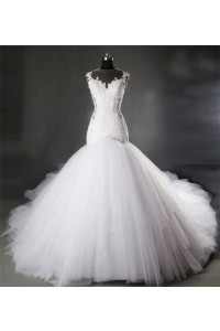 Fit And Flare Illusion Neckline Lace Tulle Puffy Wedding Dress Chapel Train