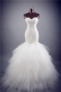 Fit And Flare Strapless Lace Tulle Layered Wedding Dress Corset Back