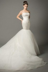 Fit And Flare Strapless Satin Tulle Mermaid Wedding Dress With Long Train