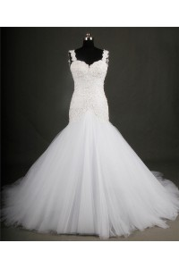 Fit And Flare Sweetheart Backless Tulle Lace Beaded Wedding Dress With Straps