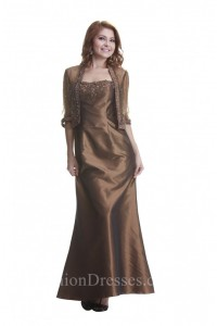 Fitted A Line Brown Taffeta Beaded Mother Evening Dress Tulle Bolero Jacket