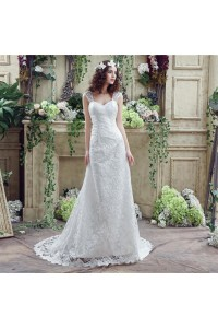 Fitted Sweetheart Lace Wedding Dress With Straps