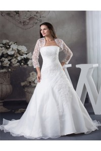 Fitted Ball Gown Strapless Organza Ruched Wedding Dress With Lace Jacket
