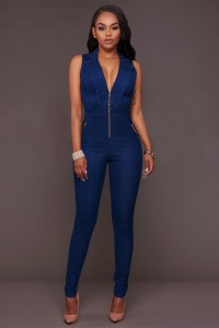 Fitted Front Zip Sleeveless Casual Denim Women Jumpsuit