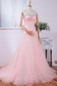 Fitted Line Strapless Light Pink Tulle Lace Beaded Prom Dress