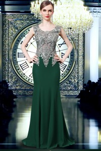 Fitted Scoop Neck See Through Tulle Dark Green Chiffon Applique Evening Prom Dress