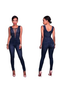 Fitted Sleeveless Plunging Neckline Lace Up Denim Women Jumpsuit