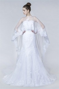 Fitted Trumpet Strapless Vintage Lace Wedding Dress With Cape
