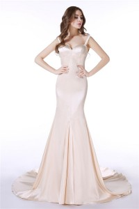 Fitted Trumpet Sweetheart Open Back Silk Satin Wedding Dress With Straps