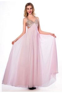 Flowing A Line Cut Out Open Back Long Light Pink Chiffon Beaded Prom Dress With Straps