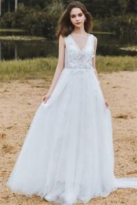 Flowing A Line V Neck Low Back Tulle Flower Bohemian Wedding Dress
