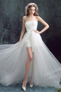Flowy Strapless High Low Lace Tulle Beach Wedding Dress With Bow
