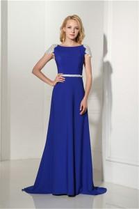 Formal Bateau Neck Cap Sleeve Open Back Royal Blue Chiffon Beaded Evening Occasion Dress