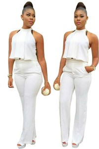 Formal Halter Long White Ruffled Jacket Legging Evening Wear Suit