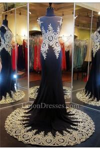 Formal Mermaid Illusion Neckline Black Silk Gold Lace Applique Evening Dress