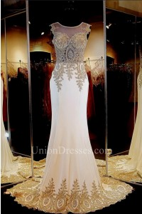Formal Mermaid Illusion Neckline White Silk Gold Lace Applique Evening Dress