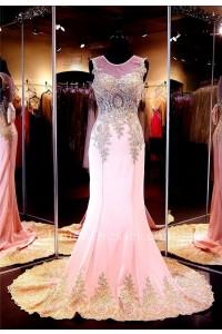 Formal Mermaid Illusion Neckline Pink Silk Gold Lace Applique Evening Dress