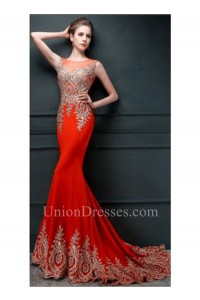 Formal Mermaid Illusion Neckline Red Silk Gold Lace Applique Evening Dress