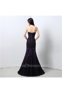 Formal Mermaid Strapless Purple Satin Black Lace Evening Dress With Sash Bow