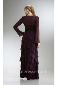 Formal Plum Chiffon Ruffle Tiered Mother Evening Dress With Jacket Spaghetti Straps