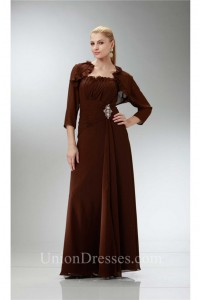Formal Sheath Ruffled Neckline Brown Chiffon Mother Evening Dress Bolero Jacket