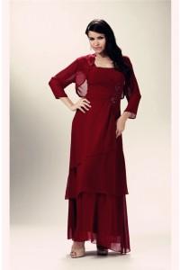 Formal Sheath Strap Burgundy Chiffon Tiered Mother Evening Dress Bolero Jacket