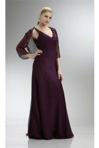 Formal V Neck Long Grape Chiffon Mother Evening Dress With Bolero Jacket