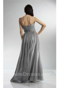 Glamour Empire Waist Long Silver Chiffon Ruched Bridesmaid Dress With Flowers