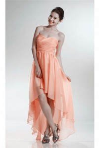 Glamour High Low Sweetheart Peach Chiffon Prom Dress