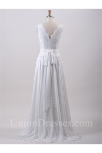 Glamour Scalloped Neck Lace Chiffon Beach Wedding Dress With Sash Back